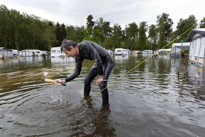 Camping d'Yvonand inondée suite aux intempéries .